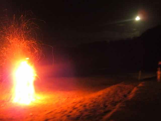Fire, moon, nature